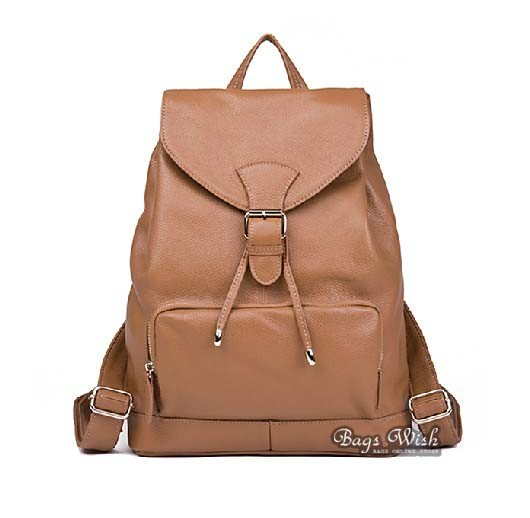 Classic leather backpack, drawstring backpack - BagsWish