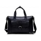 Mens leather bag briefcase, black netbook bag