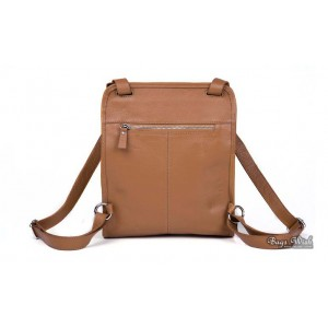 apricot leather backpack