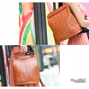 orange leather backpack