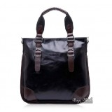 Ipad leather bag for work, black leather man bag