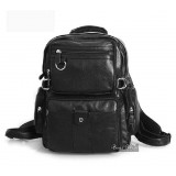 Leather satchel bag black