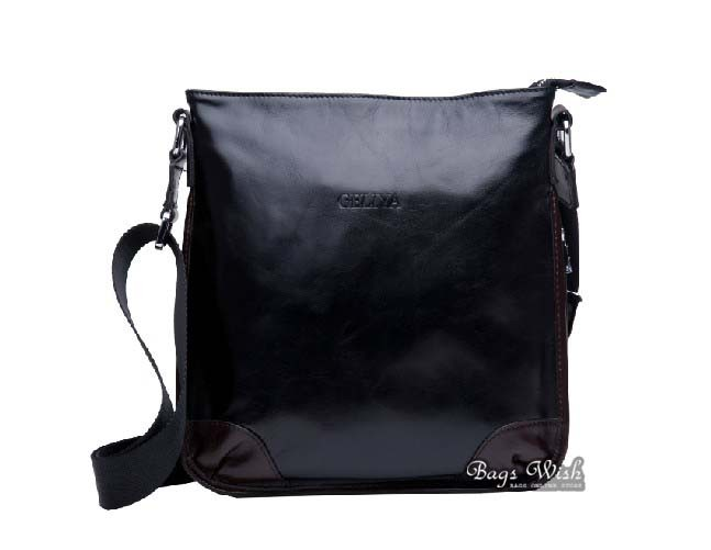 Hip messenger bag, black leather mens messenger bag - BagsWish