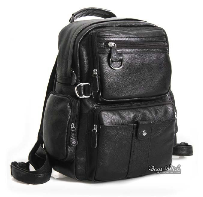 Leather satchel bag black, 13.3 inch laptop backpack - BagsWish