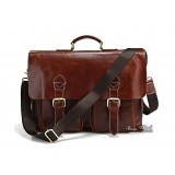 Leather flap briefcase