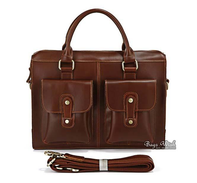 Mens laptop bag leather coffee, mens brown leather bag - BagsWish
