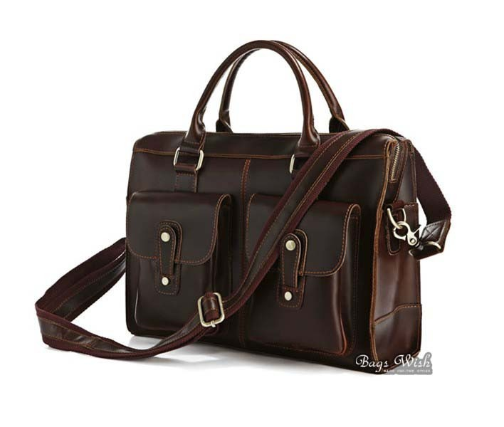 Mens laptop bag leather coffee, mens brown leather bag - BagsWish