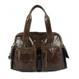 Lucky leather handbag, coffee vintage leather handbag