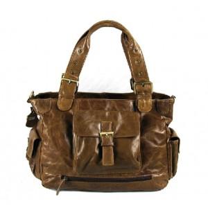 Leather tote handbag, coffee leather weekend bag