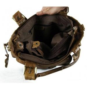 coffee Leather tote handbag