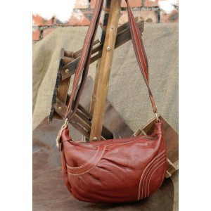 brown leather messenger purse