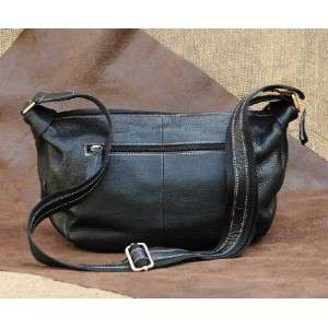 black leather messenger purse