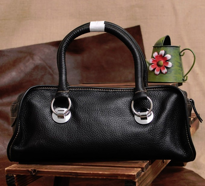 Leather Handbag Black Soft Bag