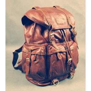 Punk leather satchel bag black, brown leather travel backpack