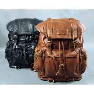 vintage leather travel backpack