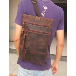 coffee leather strap bag