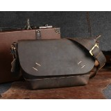 Leather messenger bag for school, man bag