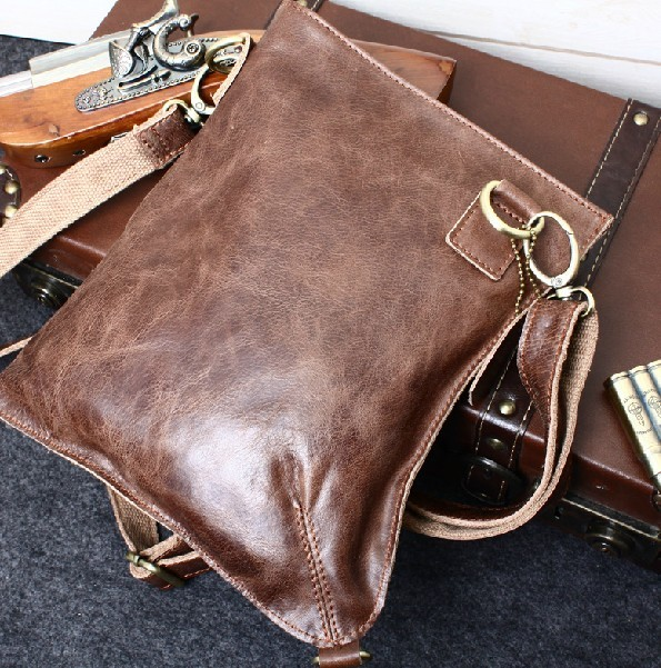 Leather messenger, leather shoulder bag men - BagsWish
