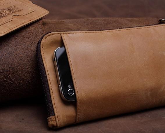 Long Leather Wallet For Men Leather Zipper Wallet Long