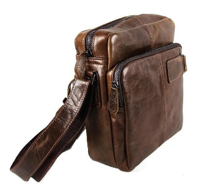 Men leather shoulder bag, men messenger bag - BagsWish