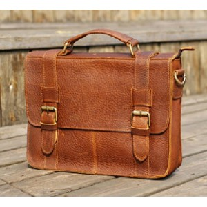 Leather travel bag, leather soft briefcase