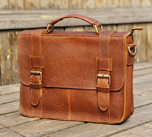 Leather travel bag, leather soft briefcase - BagsWish