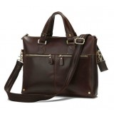 Leather lawyers briefcase, leather laptop briefcase for men