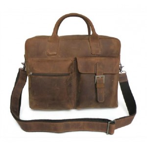 Leather satchel briefcase, leather laptop briefcase