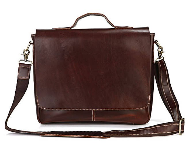 Leather Laptop Bag For Men Flapover Briefcase Mens