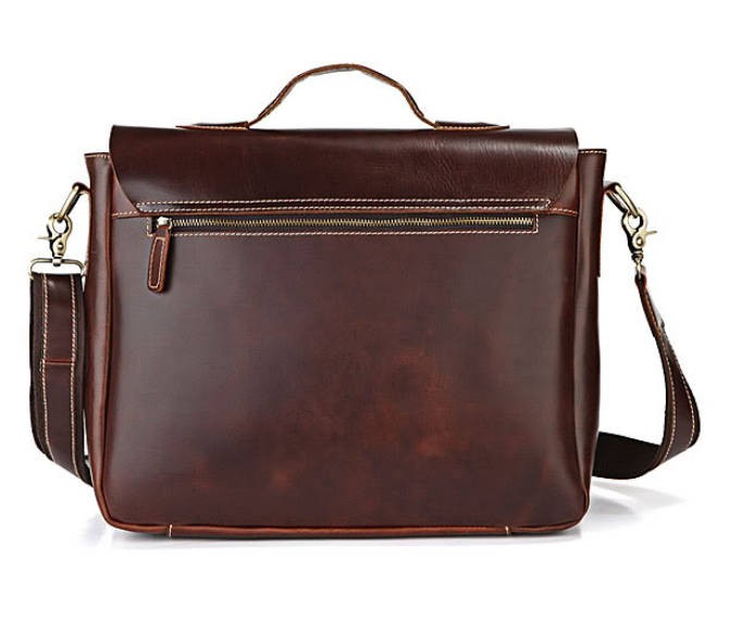 Leather laptop bag for men, leather flapover briefcase - BagsWish
