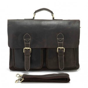 Leather laptop bag, leather document briefcase
