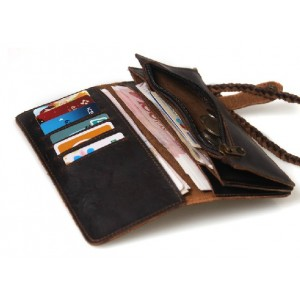 distressed Western leather wallet