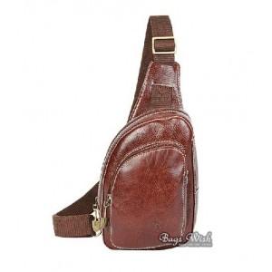 Cowhide backpack single strap, brown one shoulder backpack