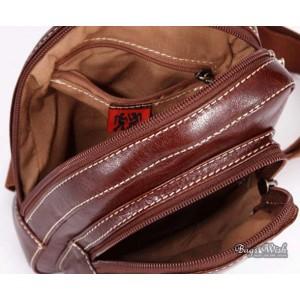 brown one shoulder backpack