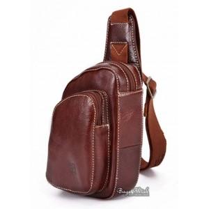 mens Cowhide backpack single strap