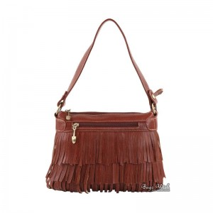 Tassel messenger bag for women, brown leather side bag