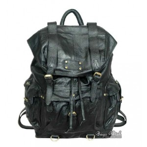 Punk leather satchel bag black