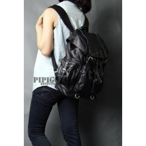 black leather travel backpack