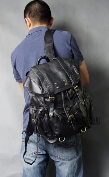 Punk leather satchel bag black, brown leather travel backpack ...