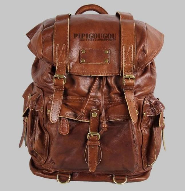 Punk leather satchel bag black, brown leather travel backpack ...