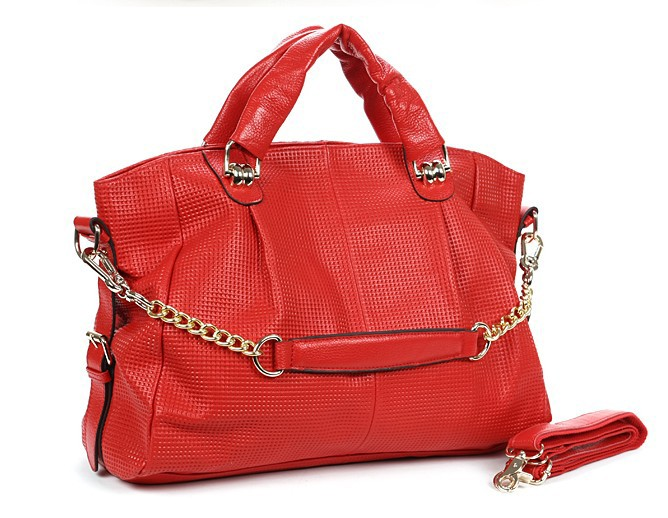 Lauren Ralph Lauren Newbury Red Leather Tote Bag