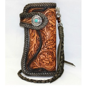 Hand carved leather wallet, hand tooled leather wallet