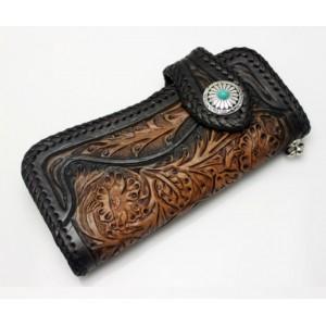 black Hand carved leather wallet