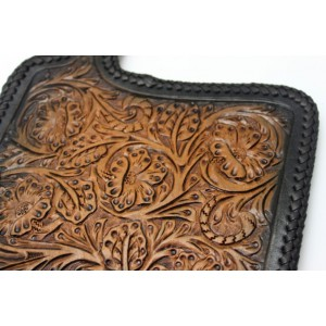 vintage Hand carved leather wallet