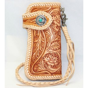 brown Hand carved leather wallet