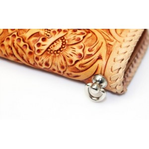 Hand carved leather wallet brown