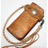 Hand tooled leather wallet, leather coin wallet