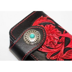 red high end leather wallet