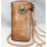 Handmade leather biker wallet, leather coin purse