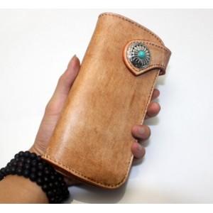 brown Handmade leather biker wallet
